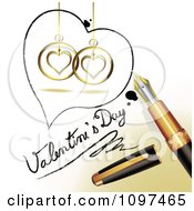 3d Fountain Pen Drawing A Heart Outline Around Ornaments And Valentines Day Text On A Page