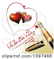 3d Fountain Pen Drawing A Heart Outline Around Red Hearts And Valentines Day Text On A Page