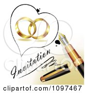 Clipart 3d Fountain Pen Drawing A Heart Outline Around Wedding Rings And Invitation Text On A Page Royalty Free Vector Illustration
