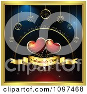 Clipart Two Red Hearts Over A Valentinse Day Banner With Ornaments And A Gold Frame Royalty Free Vector Illustration
