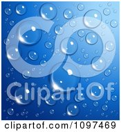 Clipart Background Of Reflective Water Droplets On Blue Royalty Free Vector Illustration