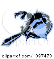 Clipart Black And Blue Medieval Knight Mascot Thrusting A Sword Royalty Free Vector Illustration