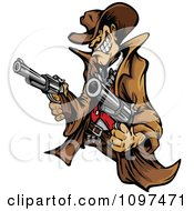 Clipart Wild West Cowboy Mascot Shooting Two Pistols Royalty Free Vector Illustration