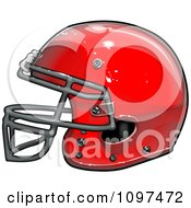 Clipart Shiny Red American Football Helmet Royalty Free Vector Illustration by Chromaco