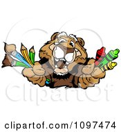 Clipart Happy Cougar Mascot Holding Out Art Crayons Paintbrushes And Pencils Royalty Free Vector Illustration