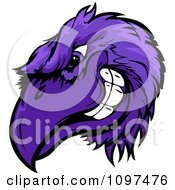 Clipart Grinning Competitive Purple Raven Or Crow Mascot Head Royalty Free Vector Illustration
