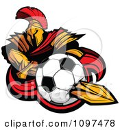Clipart Spartan Warrior Mascot Stabbing A Soccer Ball With His Golden Sword Royalty Free Vector Illustration