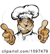 Clipart Happy Male Chef Mascot Holding Two Thumbs Up Royalty Free Vector Illustration by Chromaco