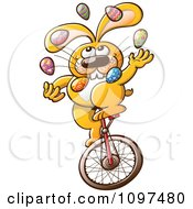 Clipart Talented Easter Bunny Juggling Eggs And Riding A Unicycle Royalty Free Vector Illustration