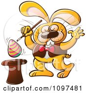 Magician Easter Bunny Raising An Egg From A Hat