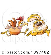 Clipart Thieving Easter Bunny Running With An Egg Stolen From An Angry Hen Royalty Free Vector Illustration