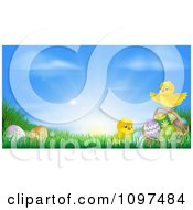 Clipart Cute Easter Chicks With Eggs In Grass Against A Sunrise Royalty Free Vector Illustration