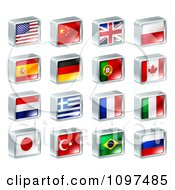 Clipart 3d Square Flag Icons With Chrome Edges Royalty Free Vector Illustration by AtStockIllustration