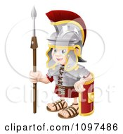 Clipart Happy Boy Roman Soldier With A Shield And Spear Royalty Free Vector Illustration by AtStockIllustration