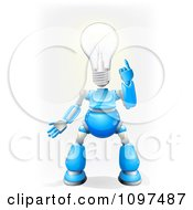 3d Blue And Chrome Light Bulb Headed Robot