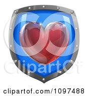 Clipart 3d Red Heart On A Blue And Chrome Shield Royalty Free Vector Illustration