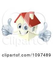 Clipart Happy Smiling House Mascot Holding Two Thumbs Up Royalty Free Vector Illustration by AtStockIllustration
