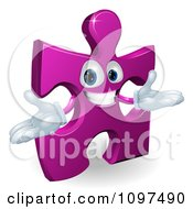 Clipart Happy Purple Jigsaw Puzzle Piece Mascot Royalty Free Vector Illustration by AtStockIllustration