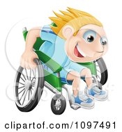 Happy Blond Boy Racing Fast In His Wheelchair