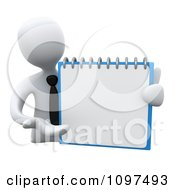 3d White Businessman Presenting A Blank Page In A Notepad Or On A Calendar
