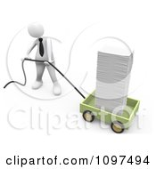 3d White Businessman Pulling A Huge Stack Of Paperwork In A Wagon