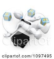3d White Businessman On The Floor Sucking On A Pacifier By Letter Blocks And Briefcase