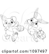 Cute Outlined Easter Bunnies Running And Leaping With Eggs In Baskets