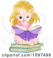 Cute Blond Girl Sitting On Books And Reading
