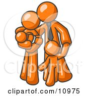 Orange Family Man A Father Hugging His Wife And Two Children