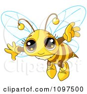 Clipart Really Cute Bee Flying Royalty Free Vector Illustration by Pushkin