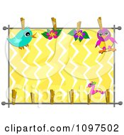 Birds And Flowers On A Clothes Line Over Zig Zags