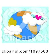 Clipart Winged Heart And Clouds Over Earth On Blue Zig Zags Royalty Free Vector Illustration by bpearth