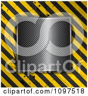 Clipart 3d Perforated Vent Over A Grungy Hazard Stripe Background Royalty Free Vector Illustration