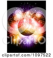 Clipart 3d Sparkly Disco Ball Over A Circle And Star Colorful Burst Royalty Free Vector Illustration