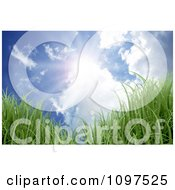 Clipart Blue Cloudy Sky And Sun Shining Down On 3d Grass Royalty Free Vector Illustration