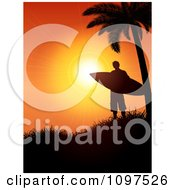 Surfer Under A Palm Tree Silhouetted On A Hill Against An Orange Sunset