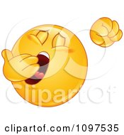 Clipart Sleepy Emoticon Yawning And Stretching Royalty Free Vector Illustration