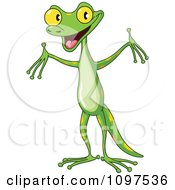 Happy Cute Green Gecko Holding Up His Arms