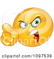 Clipart Angry Emoticon Pointing An Accusatory Finger Royalty Free Vector Illustration