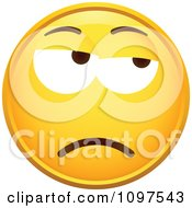 Clipart Grumpy Yellow Emoticon Smiley Face Royalty Free Vector Illustration