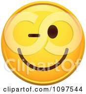 Clipart Winking Flirty Yellow Emoticon Smiley Face Royalty Free Vector Illustration