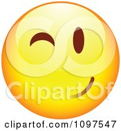 Clipart Flirty Winking Yellow Cartoon Smiley Emoticon Face 4 Royalty Free Vector Illustration