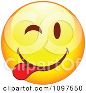 Clipart Yellow Goofy Cartoon Smiley Emoticon Face 9 Royalty Free Vector Illustration