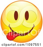 Clipart Yellow Goofy Cartoon Smiley Emoticon Face 8 Royalty Free Vector Illustration