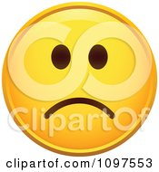 Clipart Yellow Cartoon Smiley Emoticon Face Frowning 2 Royalty Free Vector Illustration