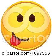 Clipart Yellow Goofy Cartoon Smiley Emoticon Face 2 Royalty Free Vector Illustration