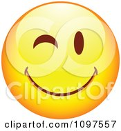 Clipart Flirty Winking Yellow Cartoon Smiley Emoticon Face 2 Royalty Free Vector Illustration