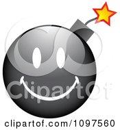 Clipart Black Bomb Cartoon Smiley Emoticon Face Royalty Free Vector Illustration