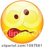 Clipart Sick Yellow Cartoon Smiley Emoticon Face Hanging Its Tongue Out 1 Royalty Free Vector Illustration