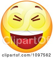 Clipart Laughing Yellow Cartoon Smiley Emoticon Face 2 Royalty Free Vector Illustration